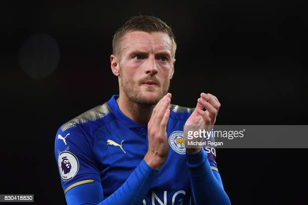 A dejected Jamie Vardy of Leicester City applauds the travelling fans following their team's 43 defeat during the Premier League match between...