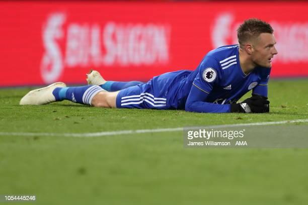 A dejected Jamie Vardy of Leicester City during the Premier League match between Leicester City and West Ham United at The King Power Stadium on...