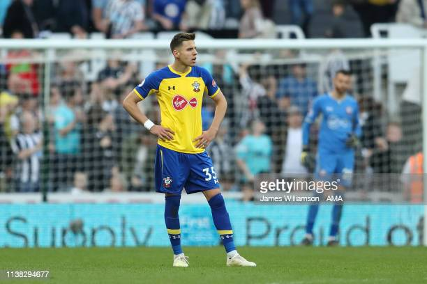A dejected Jan Bednarek of Southampton during the Premier League match between Newcastle United and Southampton FC at St James Park on April 20 2019...