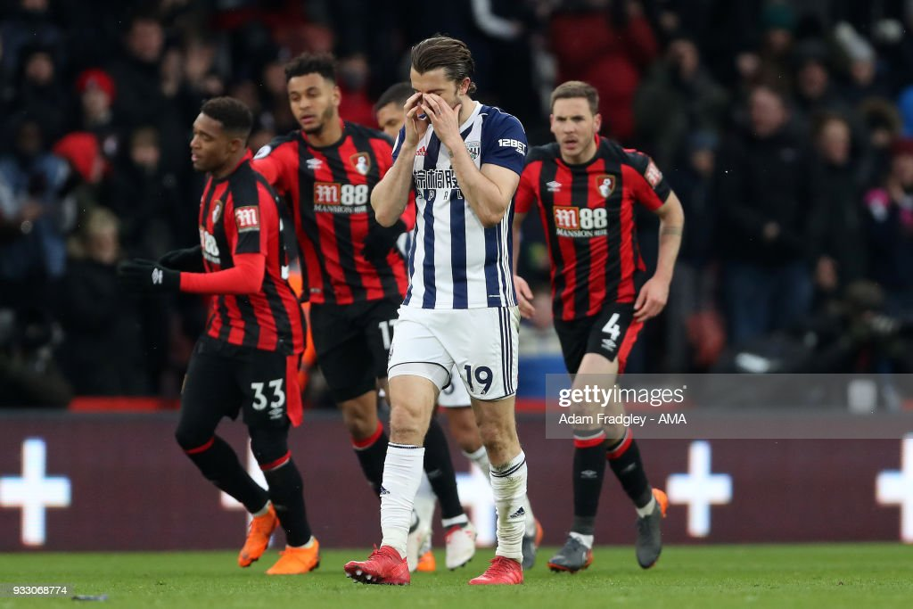 A dejected Jay Rodriguez of West Bromwich Albion after conceding a goal to make the score 1-1 during the Premier League match between AFC Bournemouth and West Bromwich Albion at Vitality Stadium on March 17, 2018 in Bournemouth, England.