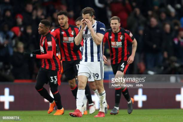 A dejected Jay Rodriguez of West Bromwich Albion after conceding a goal to make the score 11 during the Premier League match between AFC Bournemouth...