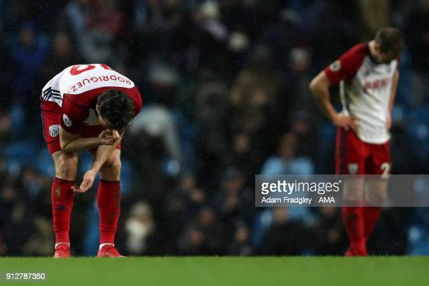 A dejected Jay Rodriguez of West Bromwich Albion and Craig Dawson of West Bromwich Albion at the final whistle during the Premier League match...