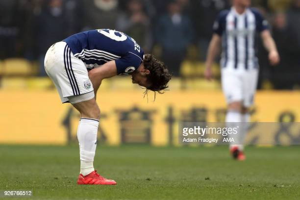 A dejected Jay Rodriguez of West Bromwich Albion during the Premier League match between Watford and West Bromwich Albion at Vicarage Road on March 3...
