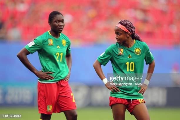 Dejected Jeannette Yango of Cameroon and Alexandra Takounda of Cameroon during the 2019 FIFA Women's World Cup France Round Of 16 match between...