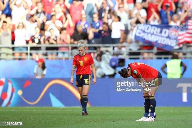 A dejected Jennifer Hermoso of Spain and Maria Leon of Spain during the 2019 FIFA Women's World Cup France Round Of 16 match between Spain and USA at...