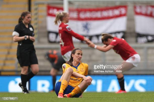 Dejected Jill Scott of Everton Women reacts at full time during the Barclays FA Women's Super League match between Manchester United Women and...