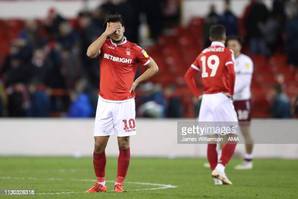 Dejected Joao Carvalho of Nottingham Forest at full time the Sky Bet Championship match between Nottingham Forest and Aston Villa at City Ground on...