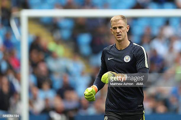 A dejected Joe Hart of Manchester City walks off after warming up during the Premier League match between Manchester City and Sunderland at Etihad...