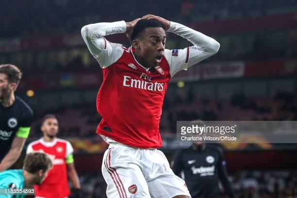 A dejected Joe Willock of Arsenal reacts after missing a chance during the UEFA Europa League group F match between Arsenal FC and Eintracht...
