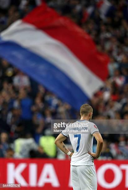 A dejected Johann Gudmundsson of Iceland during the UEFA Euro 2016 quarter final match between France and Iceland at Stade de France on July 3 2016...