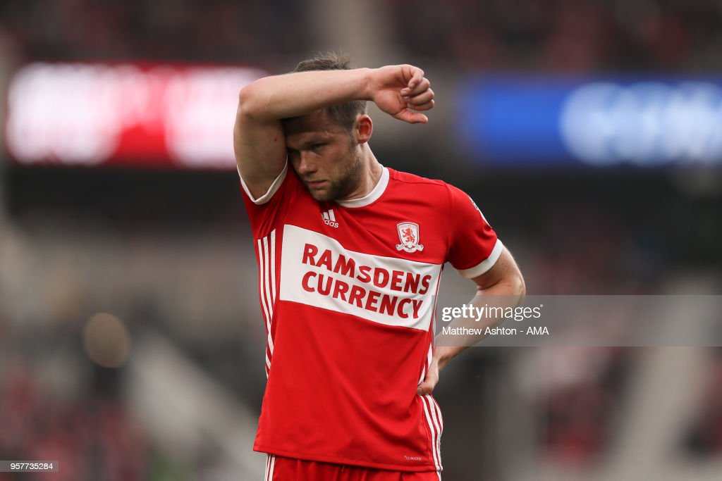 A dejected Jonathan Howson of Middlesbrough during the Sky Bet Championship Play Off Semi Final First Leg match between Middlesbrough and Aston Villa at Riverside Stadium on May 12, 2018 in Middlesbrough, England.