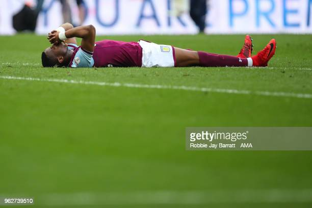 A dejected Jonathan Kodjia of Aston Villa at full time during the Sky Bet Championship Play Off Final between Aston Villa and Fulham at Wembley...