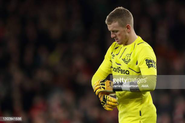 A dejected Jordan Pickford of Everton at full time of the Premier League match between Arsenal FC and Everton FC at Emirates Stadium on February 23...
