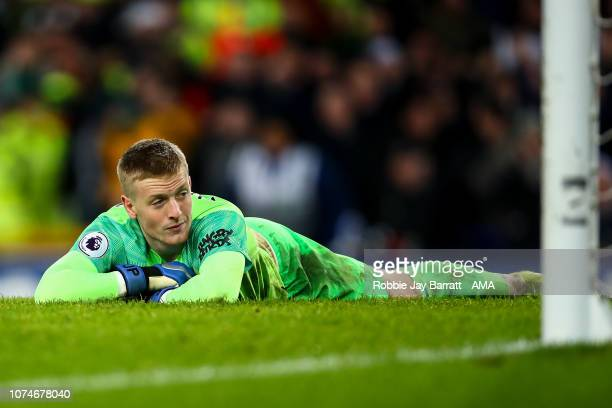A dejected Jordan Pickford of Everton reacts after conceding a goal to make it 26 during the Premier League match between Everton FC and Tottenham...