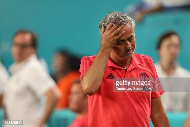 A dejected Jose Mourinho the head coach / manager of Manchester United at full time during the International Champions Cup 2018 fixture between...