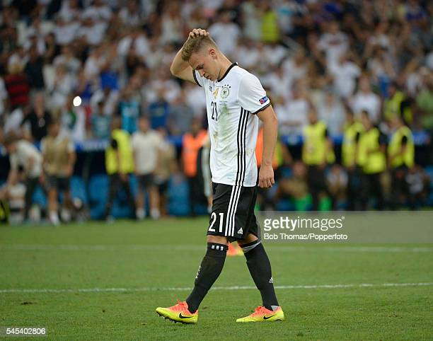 Dejected Joshua Kimmich of Germany after the UEFA EURO semi final match between Germany and France at Stade Velodrome on July 7 2016 in Marseille...