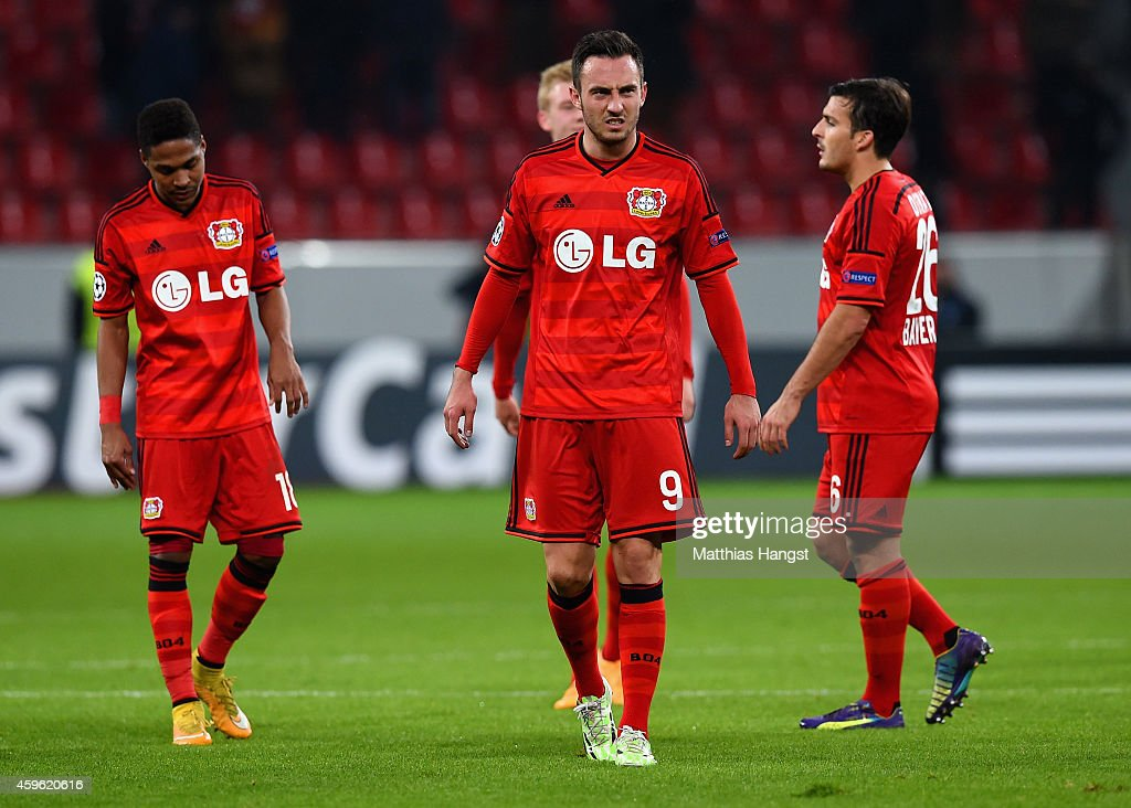 A dejected Josip Drmic of Bayer Leverkusen looks on after defeat in the UEFA Champions League group C match between Bayer 04 Leverkusen and AS Monaco FC at BayArena on November 26, 2014 in Leverkusen, Germany.