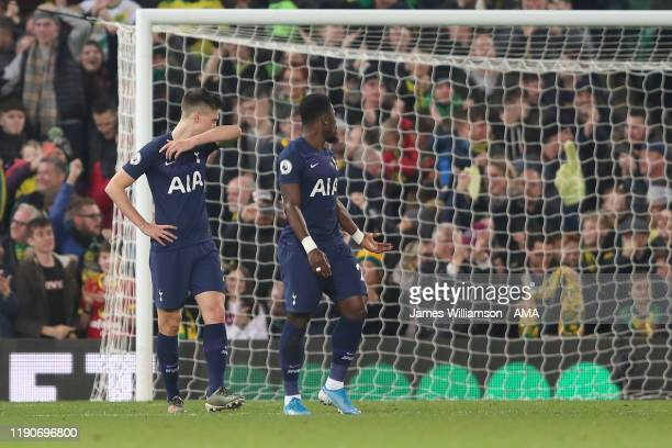Dejected Juan Foyth of Tottenham Hotspur after Mario Vrancic of Norwich City scored a goal to make it 1-0 during the Premier League match between...