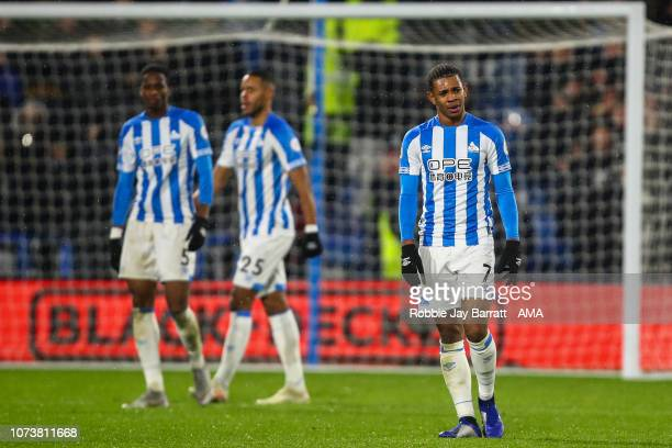 A dejected Juninho Bacuna of Huddersfield Town after conceding a goal to make it 01 during the Premier League match between Huddersfield Town and...