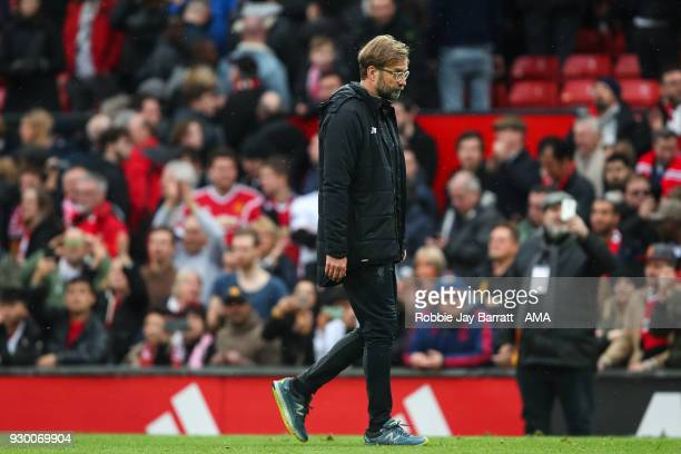A dejected Jurgen Klopp manager / head coach of Liverpool at full time during the Premier League match between Manchester United and Liverpool at Old...