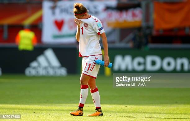 A dejected Katrine Veje of Denmark Women the UEFA Women's Euro 2017 final match between Denmark and Netherlands at De Grolsch Veste Stadium on August...