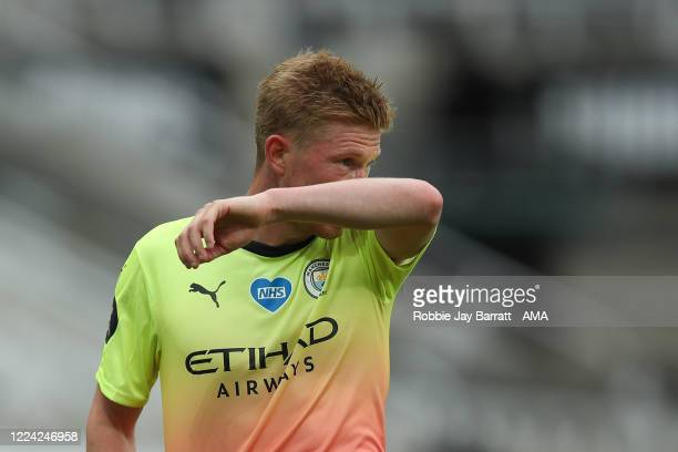 A dejected Kevin De Bruyne of Manchester City during the FA Cup Quarter Final match between Newcastle United and Manchester City at St James Park on...