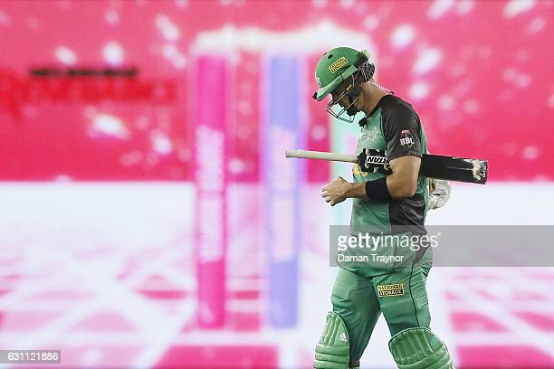 A dejected Kevin Pietersen of the Melbourne Stars walks from the ground after being dismissed during the Big Bash League match between the Melbourne...