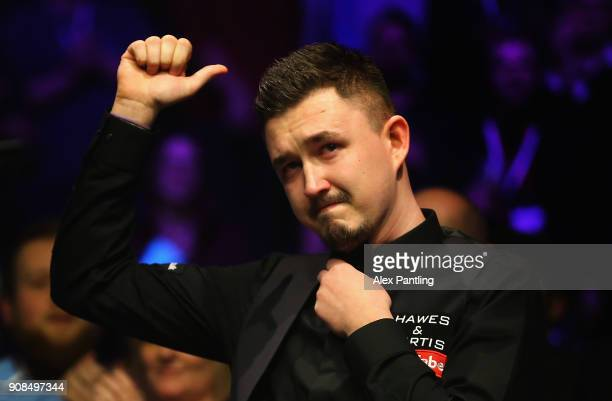 A dejected Kyren Wilson shows his emotions during The Dafabet Master Final between Kyren Wilson and Mark Allen at Alexandra Palace on January 21 2018...