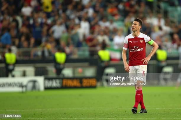 Dejected Laurent Koscielny of Arsenal in the UEFA Europa League Final between Chelsea and Arsenal at Baku Olimpiya Stadionu on May 29, 2019 in Baku,...