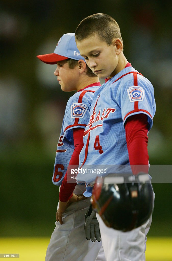 A dejected Lee Dunnam #4 of the Southeast looks down after losing to the West during the United States Semifinal of the Little League World Series on August 24, 2005 at Lamade Stadium in South Williamsport, Pennsylvania. The West team from Vista, California defeated the Southeast team from Maitland, Florida 6-2. (Photo by Elsa/Getty Images).