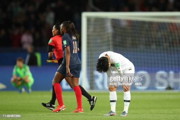A dejected Lee Geummin of Korea Republic during the 2019 FIFA Women's World Cup France group A match between France and Korea Republic at Parc des...