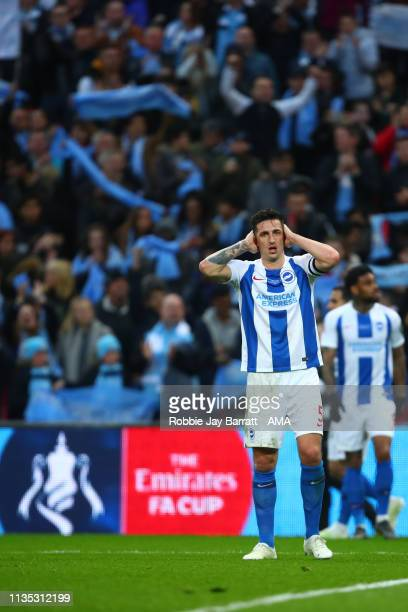 A dejected Lewis Dunk of Brighton and Hove Albion during the FA Cup Semi Final match between Manchester City and Brighton and Hove Albion at Wembley...