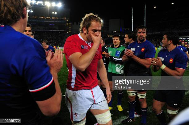 Dejected lock Alun Wyn Jones walks off the pitch following his team's 98 defeat during semi final one of the 2011 IRB Rugby World Cup between Wales...