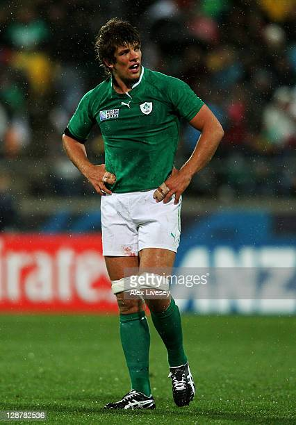 Dejected lock Donncha O'Callaghan of Ireland walks off the pitch following his team's 2210 defeat during quarter final one of the 2011 IRB Rugby...