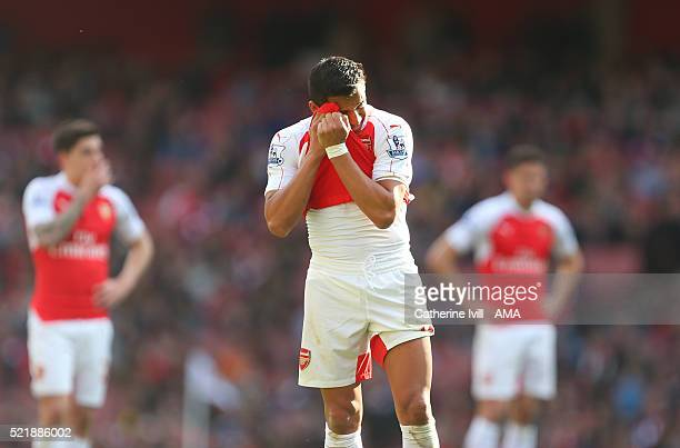A dejected looking Alexis Sanchez of Arsenal during the Barclays Premier League match between Arsenal and Crystal Palace at the Emirates Stadium on...