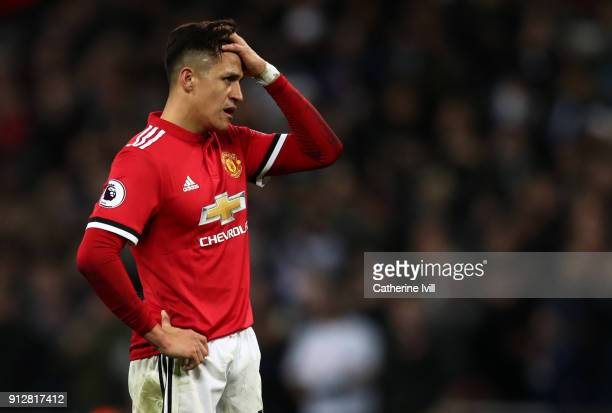 A dejected looking Alexis Sanchez of Manchester United during the Premier League match between Tottenham Hotspur and Manchester United at Wembley...