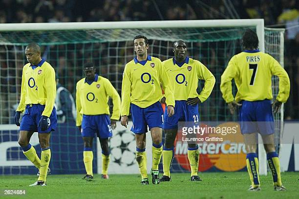 A dejected looking Arsenal defence after conceding the opening goal during the UEFA Champions League Group B game between FC Dynamo Kiev and Arsenal...