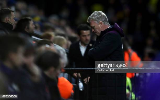 A dejected looking David Moyes manager of West Ham United during the Premier League match between Watford and West Ham United at Vicarage Road on...