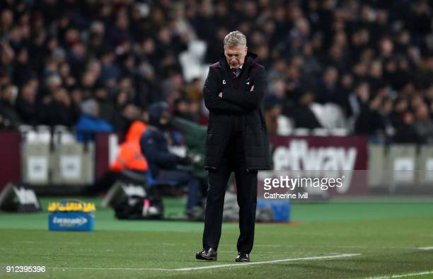 A dejected looking David Moyes manager of West Ham United during the Premier League match between West Ham United and Crystal Palace at London...