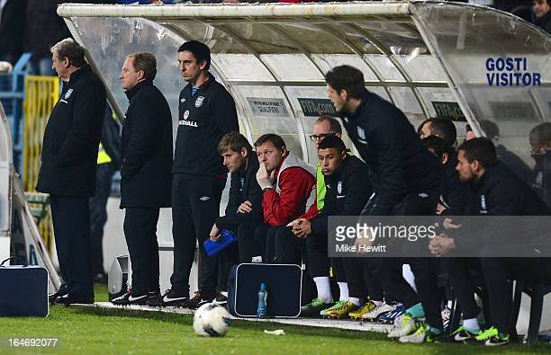 A dejected looking England bench during the FIFA 2014 World Cup Group H Qualifier between Montenegro and England at City Stadium on March 26 2013 in...