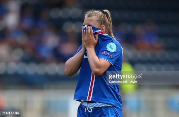 A dejected looking Ingibjorg Sigurdardottir of Iceland Women during the UEFA Women's Euro 2017 match between Iceland and Switzerland at Stadion De...
