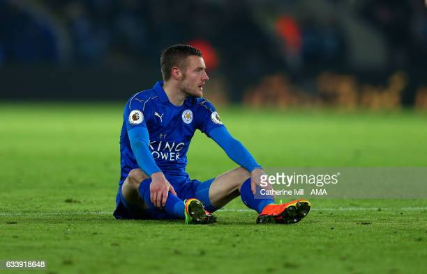 A dejected looking Jamie Vardy of Leicester City during the Premier League match between Leicester City and Manchester United at The King Power...