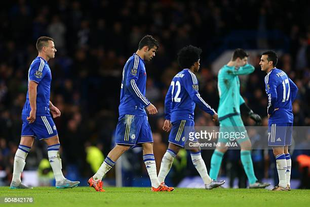 A dejected looking John Terry Diego Costa Willian Thibaut Courtois and Pedro of Chelsea during the Barclays Premier League match between Chelsea and...