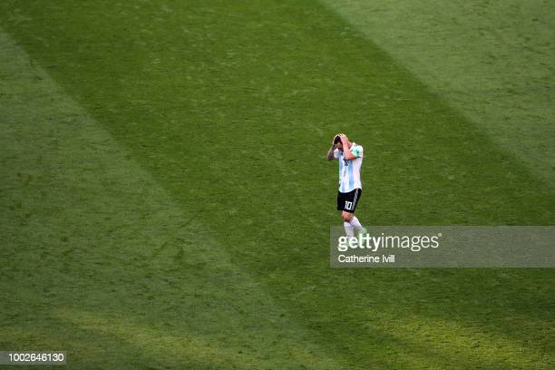 A dejected looking Lionel Messi of Argentina during the 2018 FIFA World Cup Russia Round of 16 match between France and Argentina at Kazan Arena on...