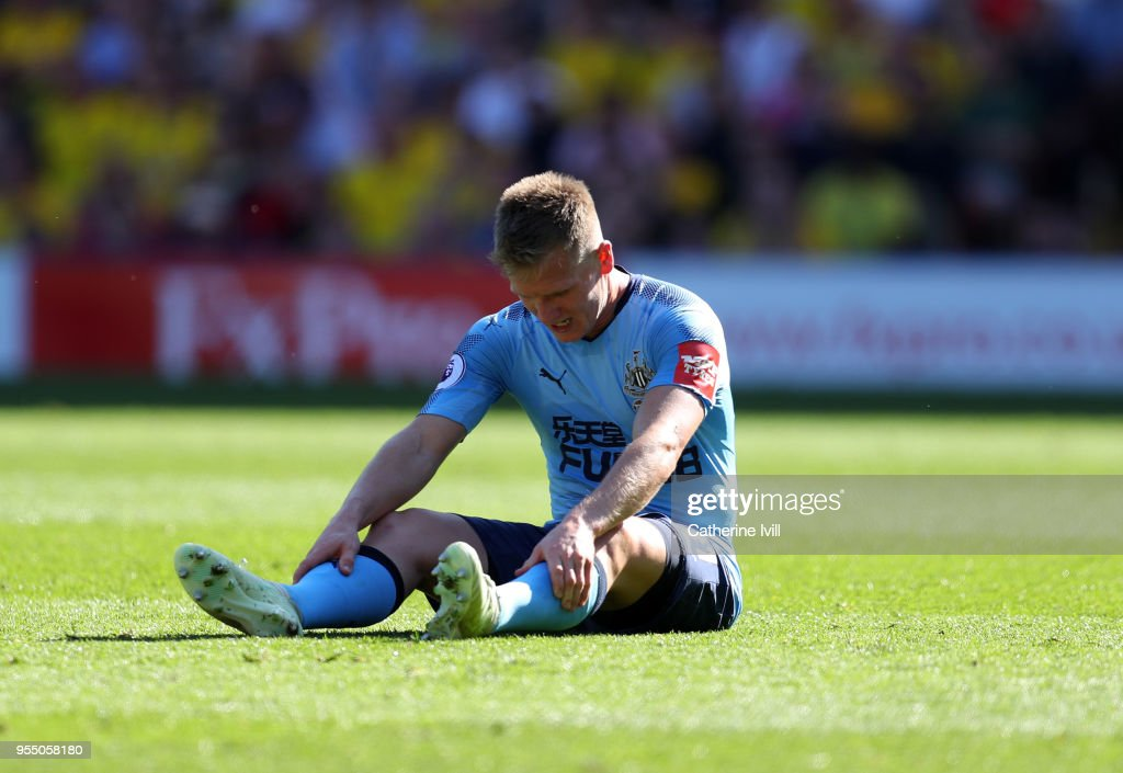 A dejected looking Matt Ritchie of Newcastle United during the Premier League match between Watford and Newcastle United at Vicarage Road on May 5, 2018 in Watford, England.