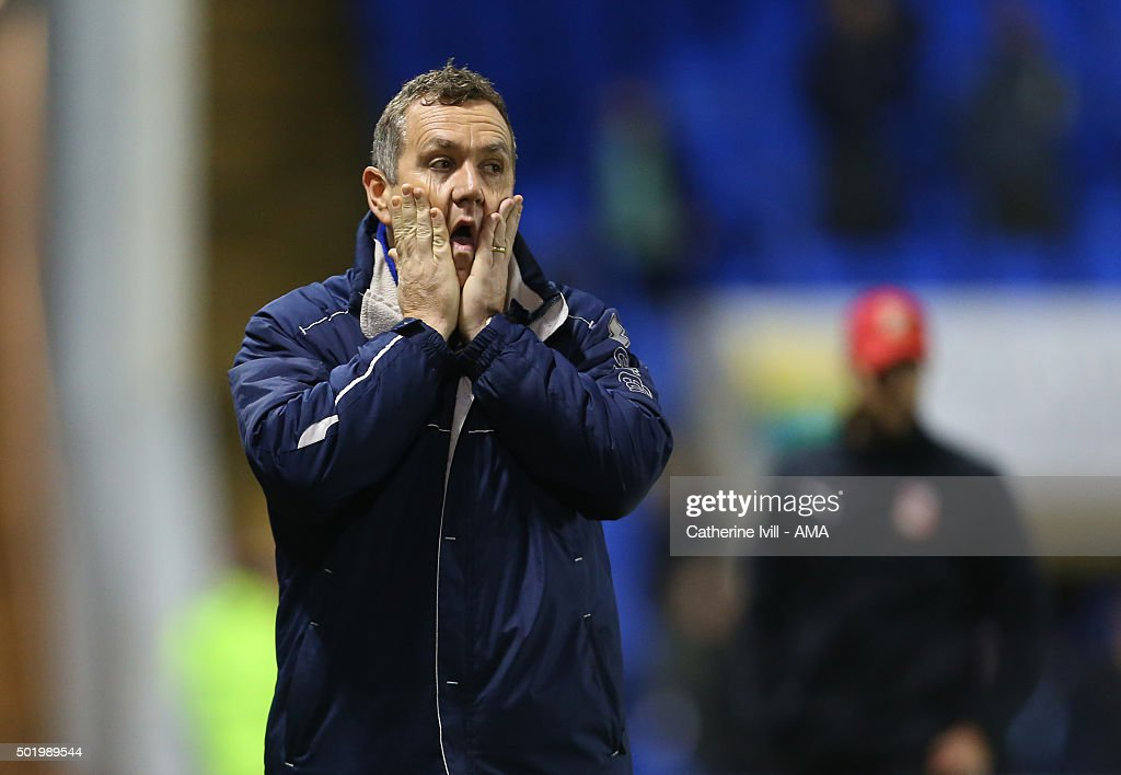 A dejected looking Micky Mellon manager of Shrewsbury Town during the Sky Bet League One match between Shrewsbury Town and Swindon Town at New Meadow on December 19, 2015 in Shrewsbury, United Kingdom.