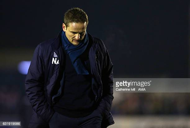 A dejected looking Neal Ardley manager of AFC Wimbledon during The Emirates FA Cup Third Round Replay match between AFC Wimbledon and Sutton United...