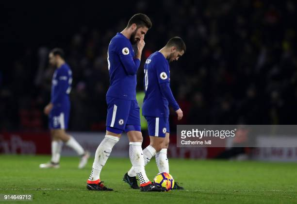 A dejected looking Olivier Giroud and Eden Hazard of Chelsea during the Premier League match between Watford and Chelsea at Vicarage Road on February...