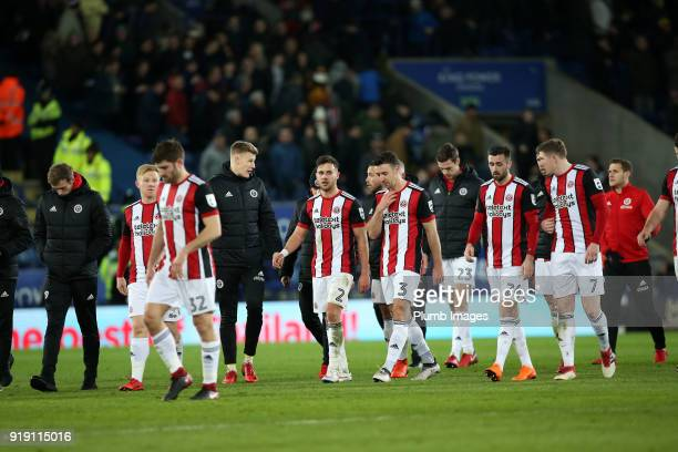 Dejected looking Sheffield United players leave the pitch after the FA Cup fifth round match between Leicester City and Sheffield United at King...