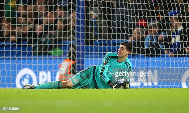 A dejected looking Thibaut Courtois of Chelsea after James McClean of West Bromwich Albion scores to make it 22 during the Barclays Premier League...